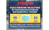 Masca redevine obligatorie în toate spațiile publice din Municipiul Focșani
