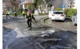 CUP Salubritate SA a continuat acțiunea de spălare a trotuarelor și carosabilului din oraș